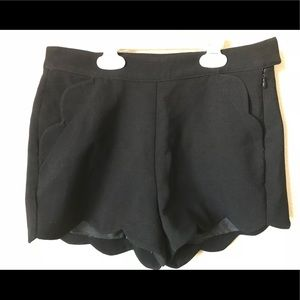 Foreign Exchange Black Scallop Trim Dress Shorts
